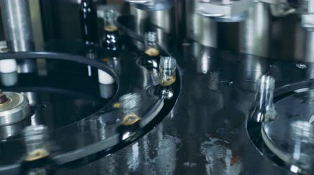 conveyor belt : Full bottles moving on a factory conveyor, automatic production. Production of whiskey, Scotch, cognac.