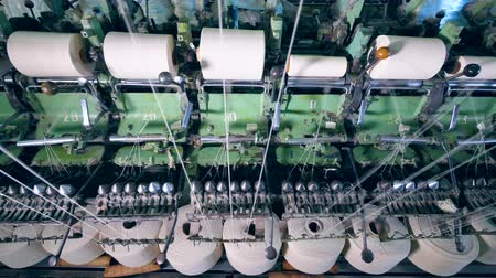 meada : Textile plant equipment works with sewing spools with white threads.