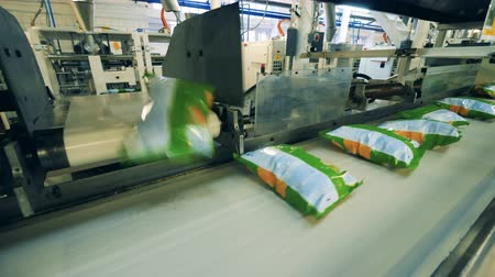 塩漬けの : Bags with potato chips transported on a factory conveyor.