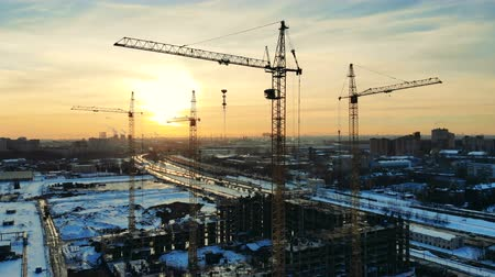 blocks of flats : Urban housing site with multiple cranes