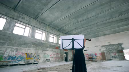 граффити : A musician plays violin in a building with graffiti on walls.