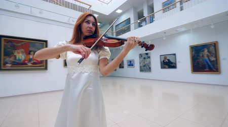 hegedűművész : A musician plays violin while performing in a museum alone.