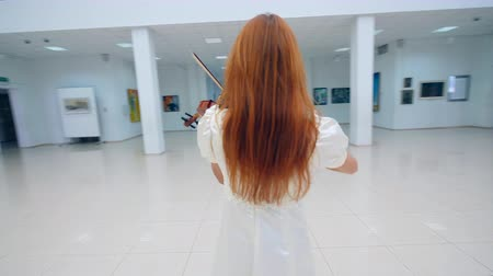 バイオリニスト : Violin player performs in a museum, standing in a room with paintings.