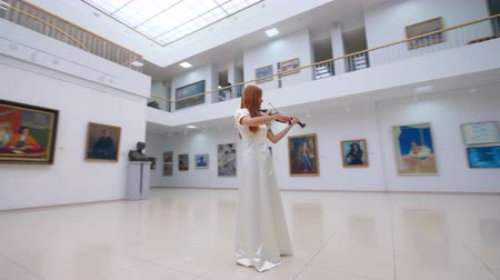 podfuk : Professional musician in white dress plays violin in museum with paintings. Dostupné videozáznamy