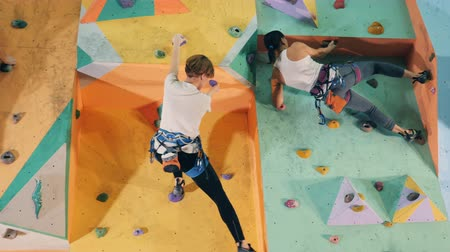 bouldering : Two men and two women are climbing an artificial wall Stock Footage