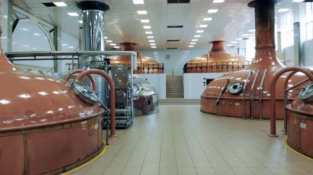 mout : Beer plant equipment stores alcohol in a modern facility. Stockvideo