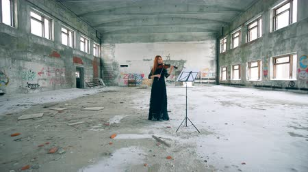 просторный : A woman is playing the violin in a stranded building