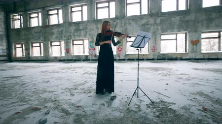 просторный : Woman in a dress is playing the violin in a spacious room Стоковые видеозаписи