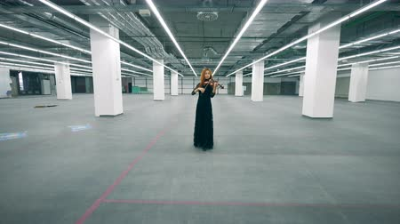 просторный : Lady in a black dress is playing the violin in an empty hall