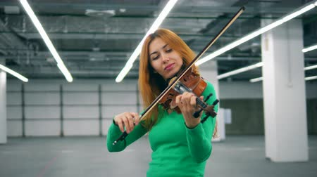 orchestre : Bronze-haired woman is skillfully playing the violin Vidéos Libres De Droits