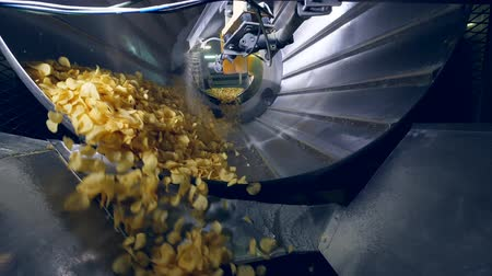sorted : Lots of fried chips sorted in a factory machine, getting mixed with flavor enhancers.
