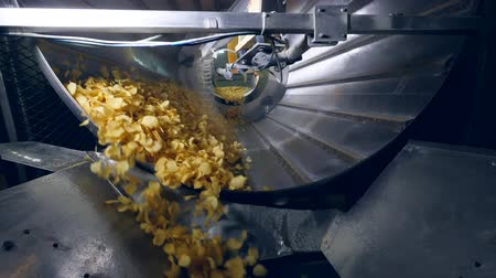 sorted : Sorted potato chips mixing with a flavor enhancers. Stock Footage