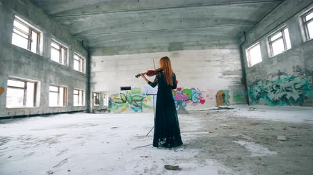hegedűművész : Stranded building with graffiti and a woman playing the violin