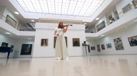 orchestre : Gallery hall with a female violinist in a white dress