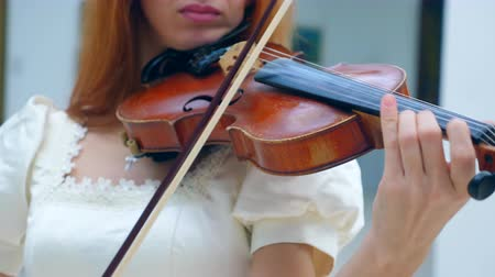 cellist : The violin is being skillfully played by a lady