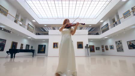 cellist : Musician in a white dress is playing the violin in the art hall