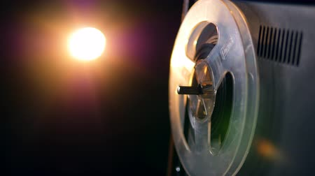 cassette : Flash of light and spinning spool of the recorder Stock Footage