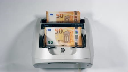 euro banknotes : Modern mechanism is counting euro bills