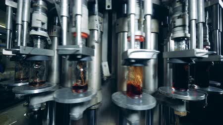 bourbon whisky : Rotating conveyor is pouring alcohol into glass bottles Stock mozgókép