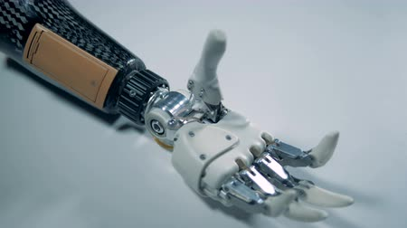prosthesis : Hands prosthesis on a table. Real robot hand. Stock Footage