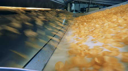 обрабатываются : Conveyor belt and crisps rapidly falling onto it