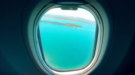 Airplane take-off seen from the porthole