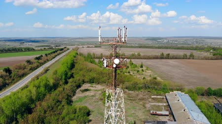 gsm : Modern transmitting tower with cables.