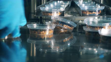 migalhas : Factory worker is putting together containers with bread snacks Stock Footage