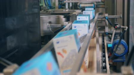 labeled : Labeled carton boxes are moving along the conveyor belt Stock Footage