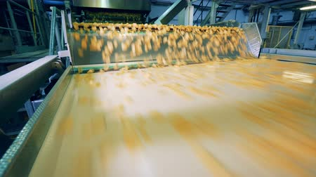 обрабатываются : Fast flow of crisps along the metal conveyor