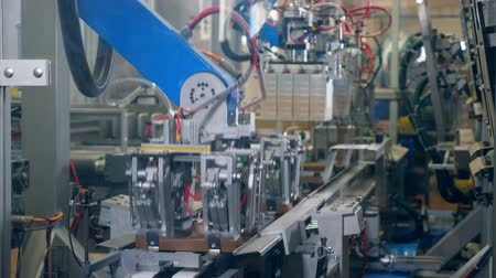 automatyka : Automated machines make cardboard boxes on a factory conveyor. Wideo