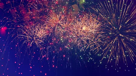 glorious : Bright fireworks are illuminating the night sky Stock Footage