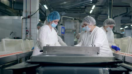 steril : Working process of female specialists in a food factory near conveyor.