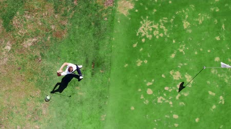 t şeklinde : Man plays golf on a green course. Stok Video