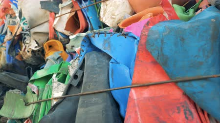 bales : Tied stacks of plastic trash, close up.