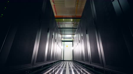 complex system : Two rows of server blocks located in the room Stock Footage