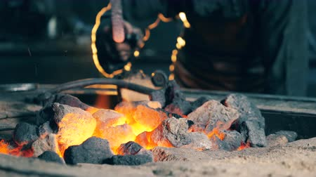 kowalstwo : Professional blacksmith checks coal on fire while working at forge.