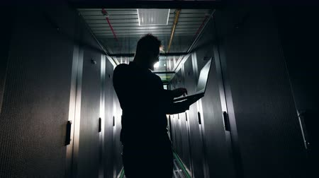 server room : Backlit computer engineer is working in the server room Stock Footage