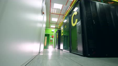 passages : Main corridor of the server room with green walls. Servers in data center. Stock Footage