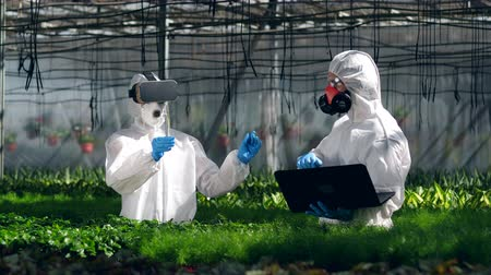 herbicides : Greenery with a chemist wearing VR-glasses and her male colleague