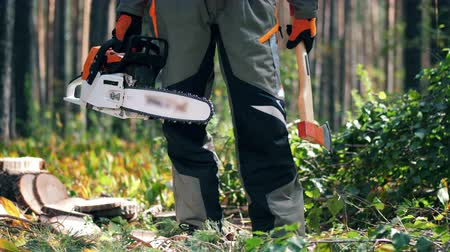 machado : Chainsaw and axe in the hands of a male worker
