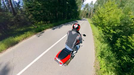 motorcross : Fast-speed drive of a man on the motorcycle. Motorcycle on a road. Stockvideo