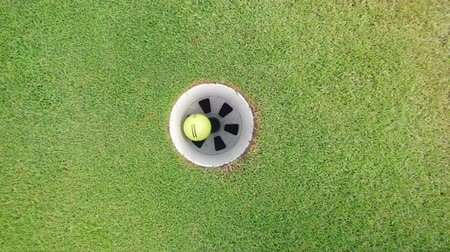 çimenli yol : Yellow ball getting into a hole on a golf course.