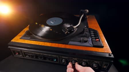 gramophone : Parameters of the record player are being regulated Stock Footage