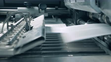 rolled : Working conveyor moves printed paper in a typography room. Stock Footage