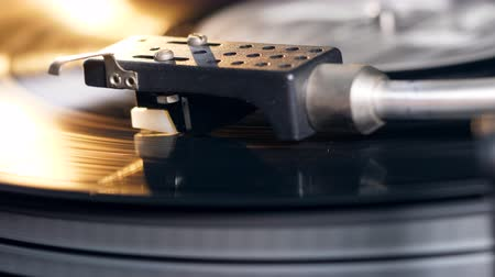 gramophone : Vinyl player works with a disk, playing music. Stock Footage