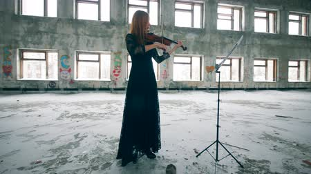 podfuk : Professional violinist performing in a ruined room alone.