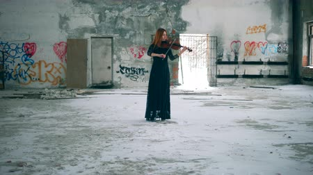 граффити : Person plays violin in a room with graffiti on walls. Стоковые видеозаписи