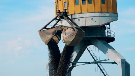 hydraulic : Rubble is pouring from a cranes at commercial port Stock Footage