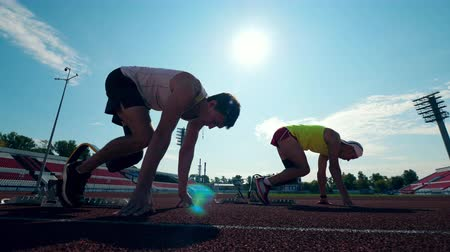 paralympic : Paralympians with artificial legs are practicing in running